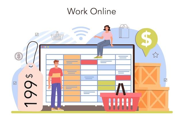 Commercial activities online service or platform. entrepreneur putting goods on showcases. marketing and price politics. online work. flat vector illustration