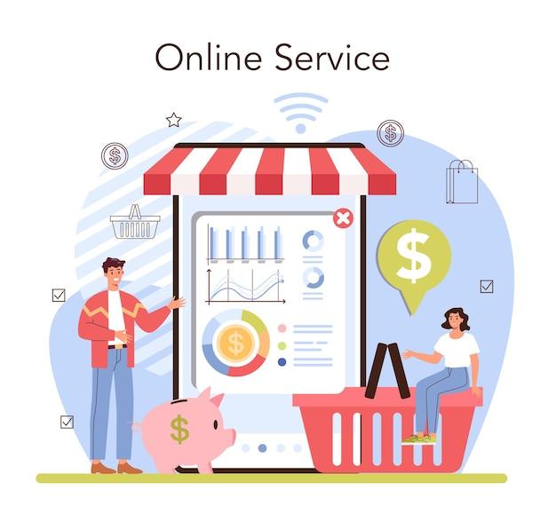 Commercial activities online service or platform. entrepreneur stocktaking