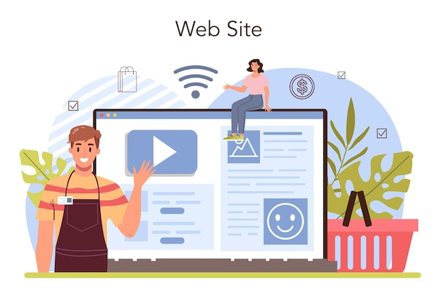 Commercial activities process online service or platform. establishing a contact with a customer. customer's needs analysis. website. flat vector illustration