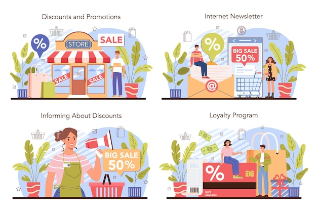 Commercial activities process set. discount, promotion and loyalty