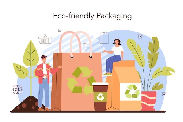 商業活動。販売および国際流通のための製品パッケージ。商品に環境にやさしいパッケージを使用している起業家。小売プロセス。