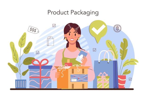 Упаковка продуктов коммерческой деятельности для продажи и международных