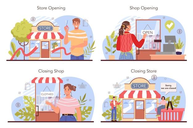 商業活動は、起業家が店舗を開店または閉店することを設定します