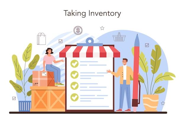 Commercial activities store inventory entrepreneur stocktaking goods