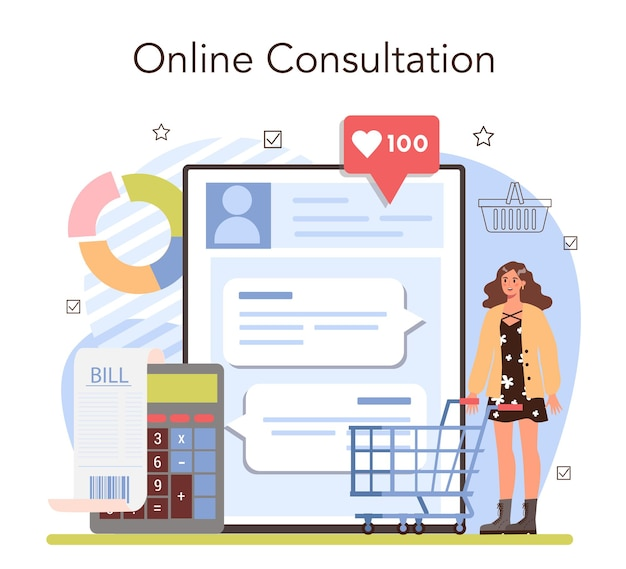 Commercial activity online service or platform. sales stimulation for comercial profit. training for new employee. online consultation. flat vector illustration