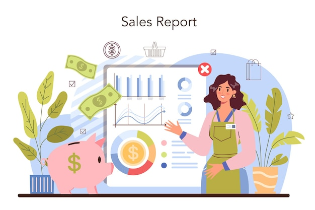 Commercial activity. sales reporting for business plan development.