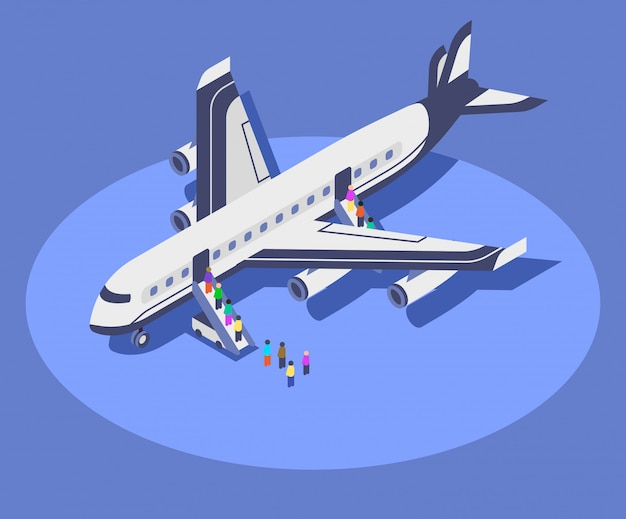 Commercial airplane isometric color  illustration.