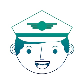 Commercial airplane pilot face character