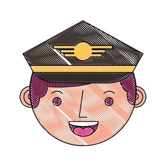 Commercial airplane pilot in uniform face character