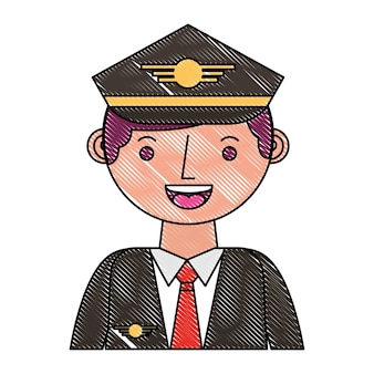 Commercial airplane pilot in uniform portrait