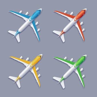 Commercial airplane set isolated