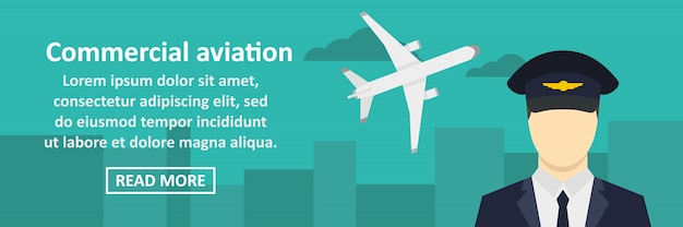 Commercial aviation banner horizontal concept