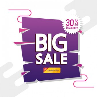 큰 판매 제안 글자와 30 % 할인을 가진 상업적인 기치