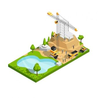 건축 사이트 디자인을위한 상업용 건물 건설 3d 아이소 메트릭 벡터 개념