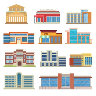 Commercial buildings architecture flat vector.
