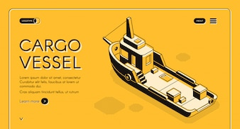 Commercial cargo vessel isometric web banner with freight ship or tugboat line art