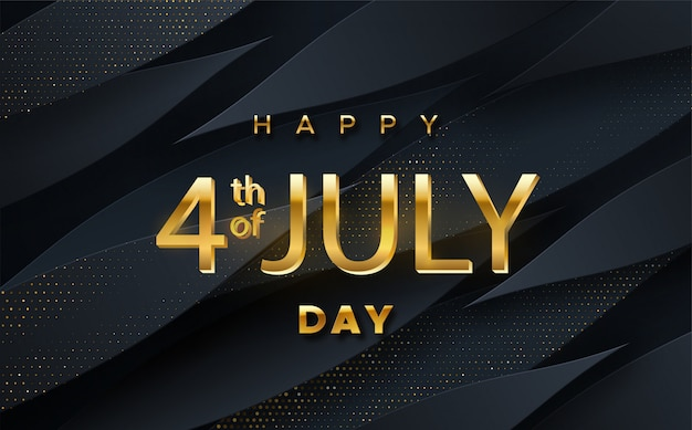 Commercial discount event banner. black background textured with paper 3d dynamic shapes and golden glittering halftone pattern. 4 july day.