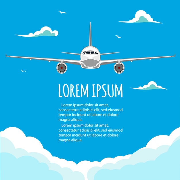 飛行機の商用便。観光およびビジネスフライト。旅客機。テキスト用の空のスペース。チラシ。図。青い背景