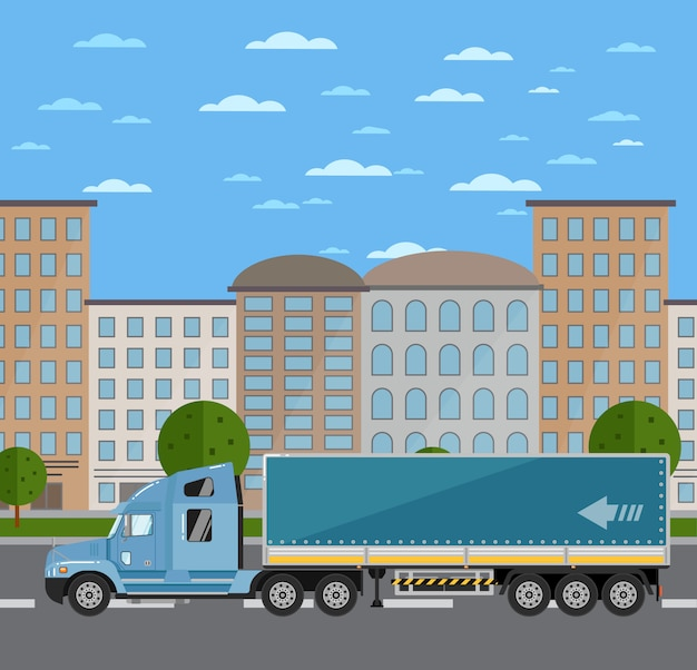 Commercial freight truck on road in city