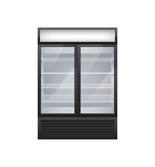 Commercial glass door drink fridge realistic composition with isolated image of shop fridge with two display doors