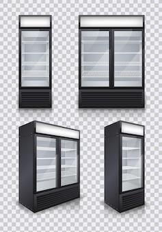 Commercial glass door drink fridges on transparent