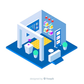 Commercial isometric stand exhibition vector