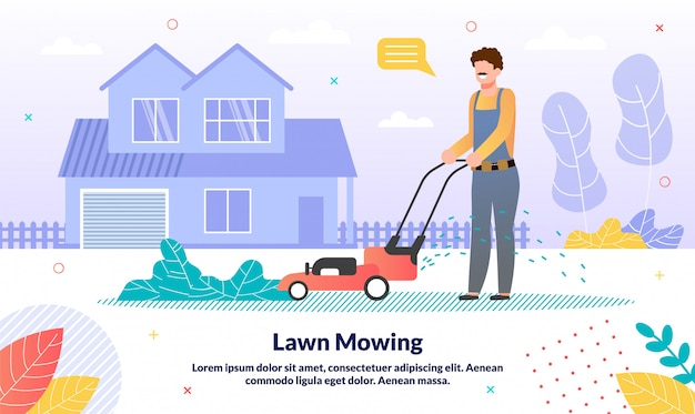 Commercial lawn moving service flat vector banner