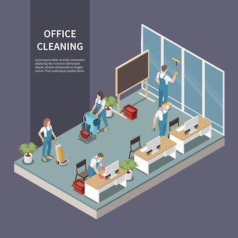 Commercial office cleaning service team at work vacuuming carpet washing windows dusting desks isometric composition