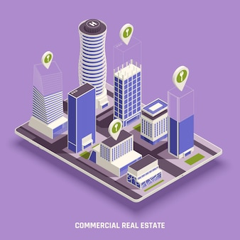 Commercial real estate isometric composition