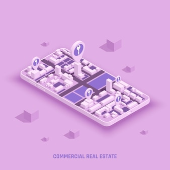 Commercial real estate on smartphone screen