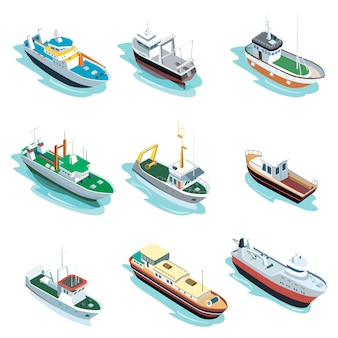 Коммерческие морские корабли изометрические 3d элементы