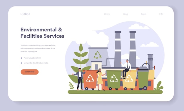 Commercial services and supplies sector of the economy web banner or landing page
