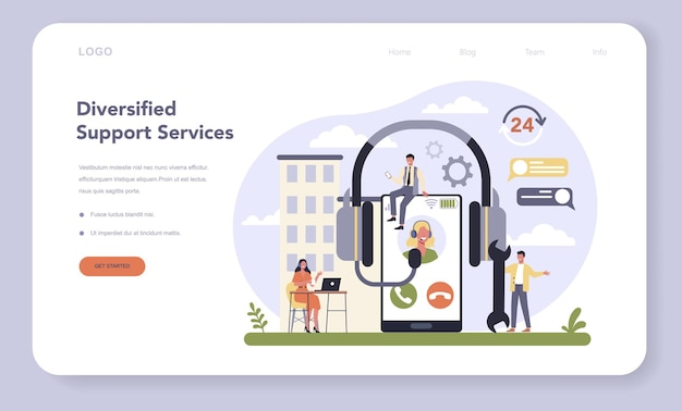 Commercial services and supplies sector of the economy web template or landing page. support service. providing customer with valuable information. call center idea.