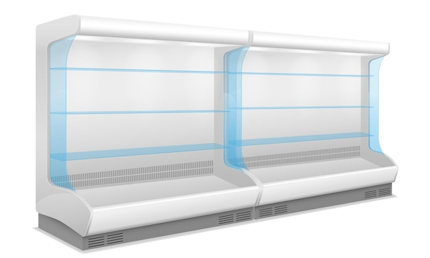 Commercial shop refrigerator for cooling and preserving food on white