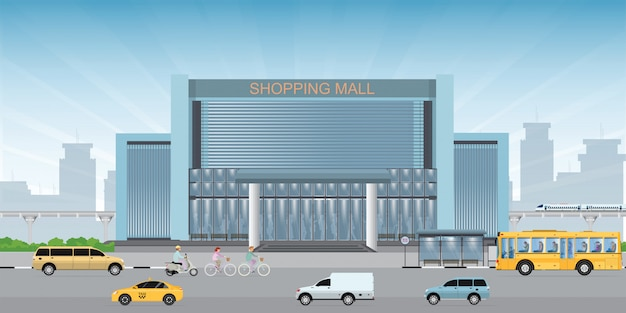 Commercial shopping mall building center.