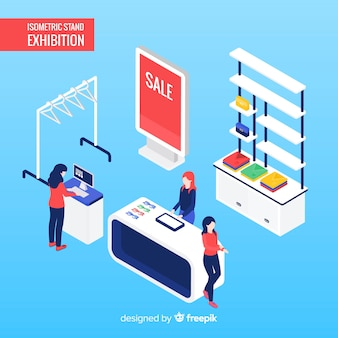 Commercial stand exhibition in isometric design