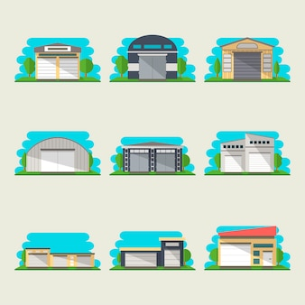 Commercial storehouse isolated set