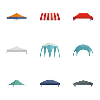 Commercial tent icon set, flat style