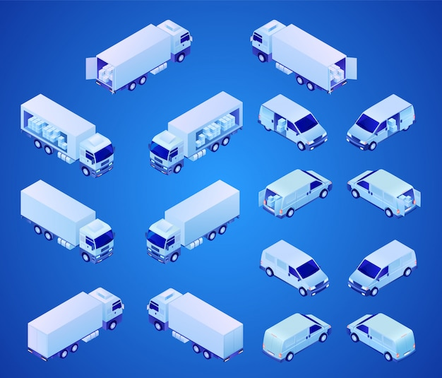 Commercial vehicles for transportation isometric