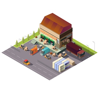 Commercial warehouse building isometric