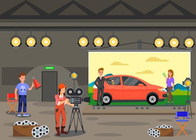 Commercials shooting, film set vector illustration