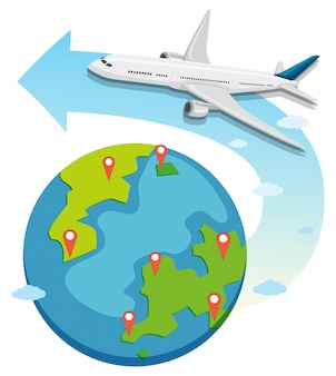 Commerical aircraft over the globe