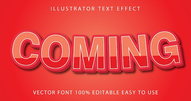 Comming vector editable text effect