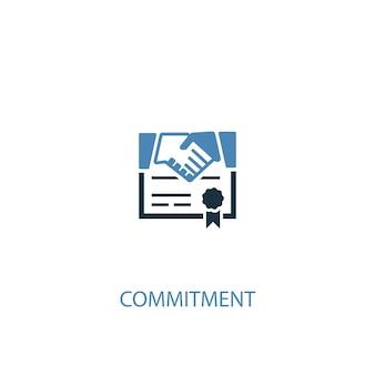 Обязательства концепции 2 цветной значок. простой синий элемент иллюстрации. приверженность концепции символ дизайна. может использоваться для веб- и мобильных ui / ux