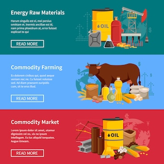 Commodity banners set with energy raw materials commodity farming and market