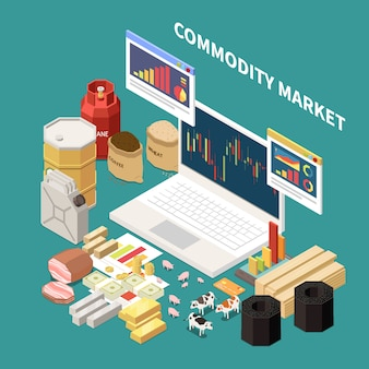 Commodity isometric composition with images of laptop with graphs and various objects related to different industries