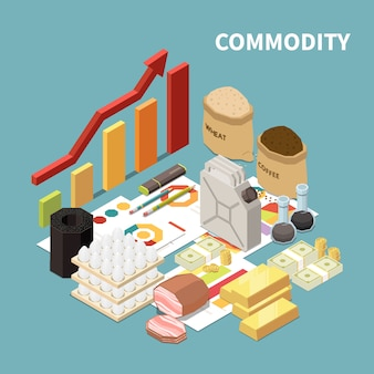 Commodity isometric composition with images of manufactured goods and infographic objects graphs and arrows with text
