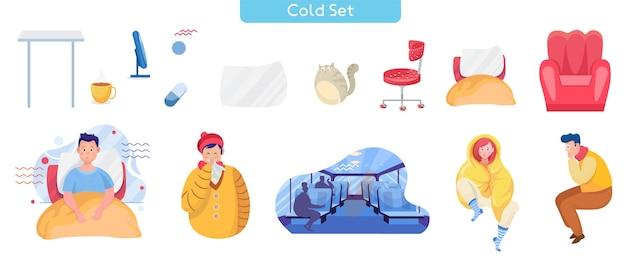 일반적인 감기 평면 벡터 일러스트 세트