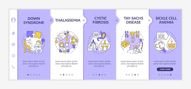 Common genetic diseases onboarding vector template. responsive mobile website with icons. web page walkthrough 5 step screens. healthcare problem color concept with linear illustrations