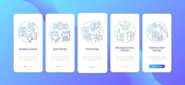 Стандартные лабораторные тесты для адаптации экрана страницы мобильного приложения с концепциями. тестирование днк, прохождение обследования здоровья, 5 шагов, графические инструкции. шаблон пользовательского интерфейса с цветными иллюстрациями rgb